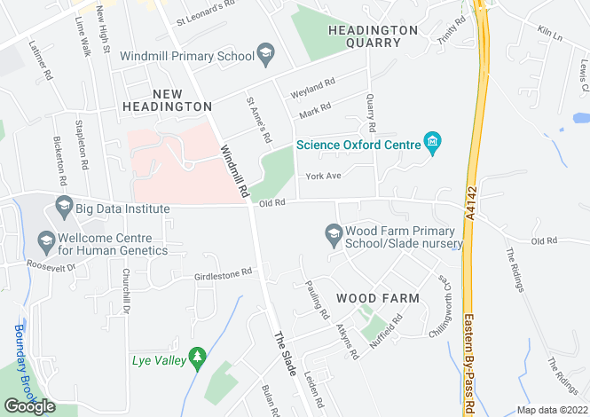 Map for 105a, Old Road, Headington, Oxford, Oxfordshire, OX3 8SX