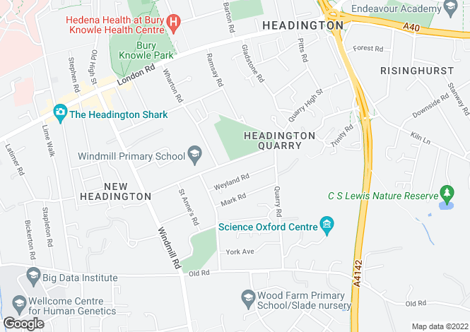 Map for Margaret Road Headington
