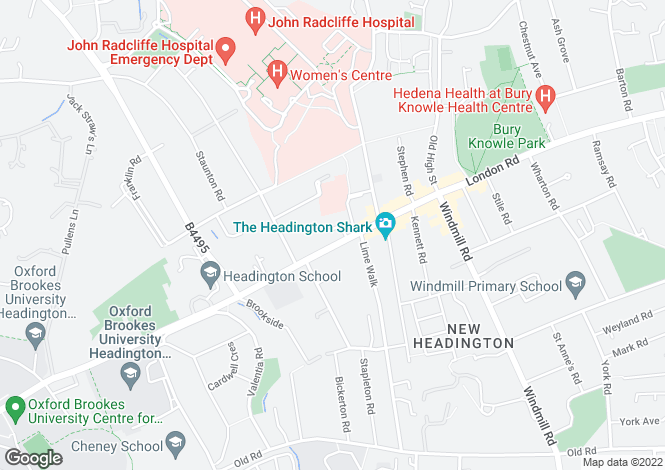 Map for Horwood Close, Headington