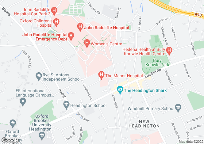 Map for Beech Road, Headington