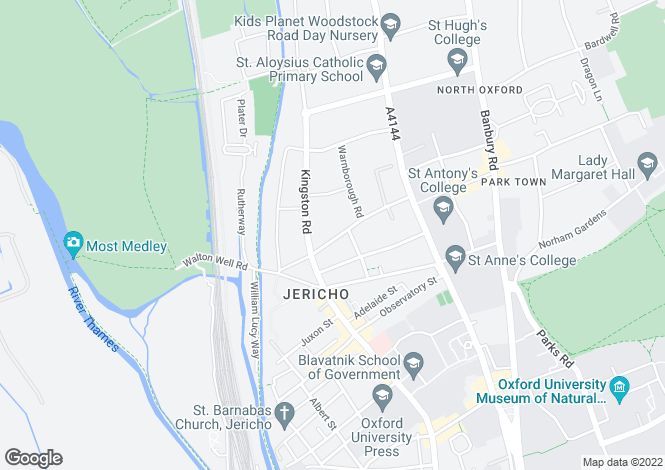 Map for Leckford Road, Central North Oxford