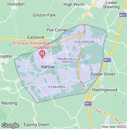 Map of property in Harlow New Town