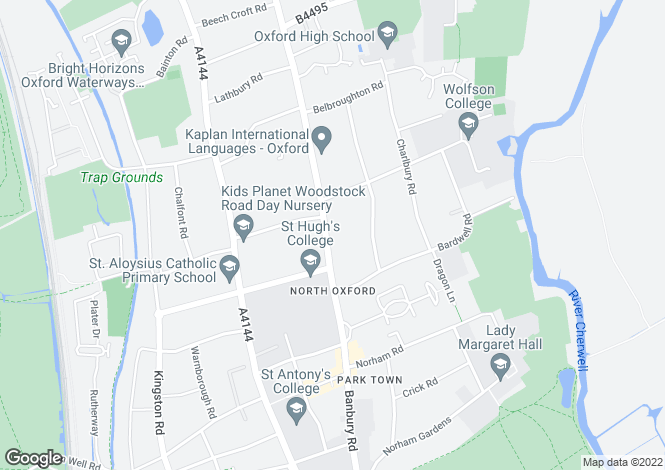 Map for Banbury Road, Oxford, OX2
