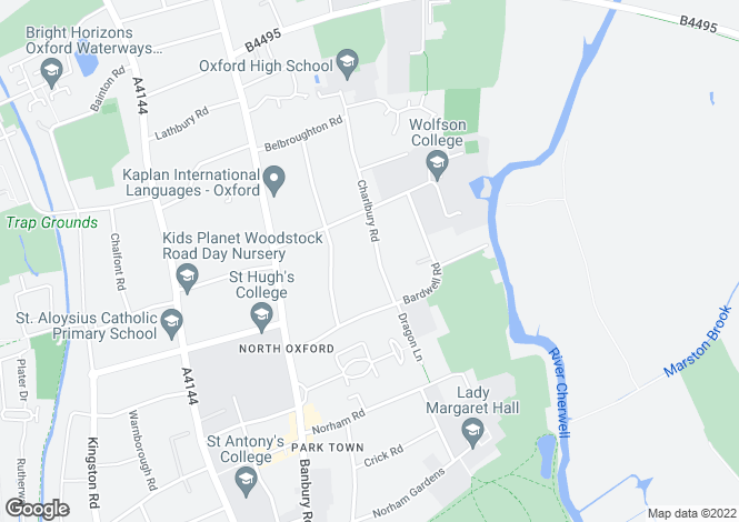 Map for Charlbury Road Central North Oxford