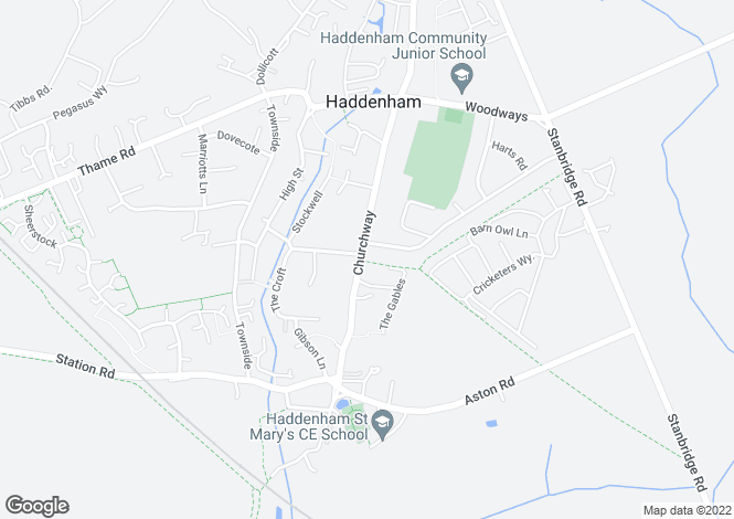 Map for Churchway, Haddenham, Bucks