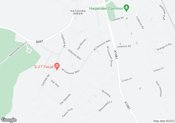Map for West Common Way, Harpenden, Hertfordshire