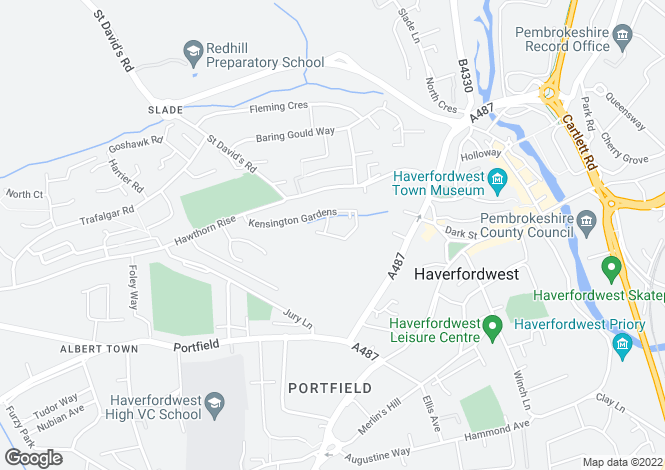 Map for 84 Kensington Gardens, Haverfordwest, Pembrokeshire