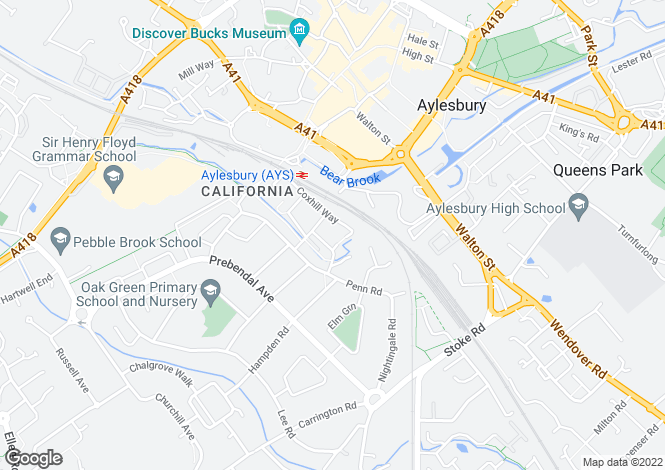 Map for Coxhill Way, Aylesbury, Buckinghamshire, HP21