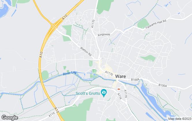 Map for Houghton Residential Lettings Ltd, Ware