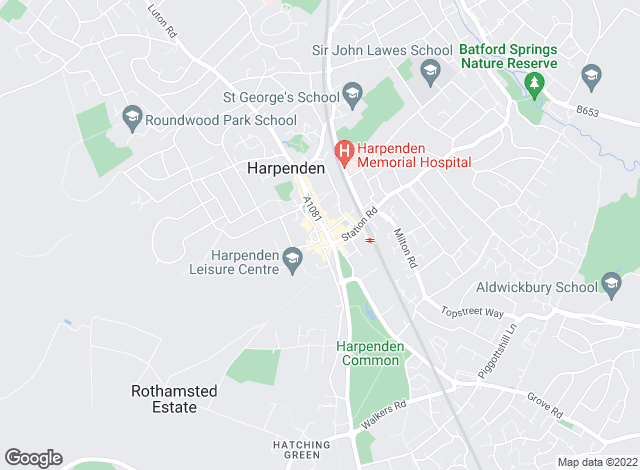 Map for Ashtons, Harpenden