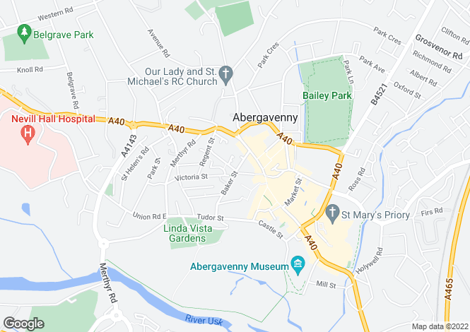 Map for Flat 2, Baker Street, Abergavenny