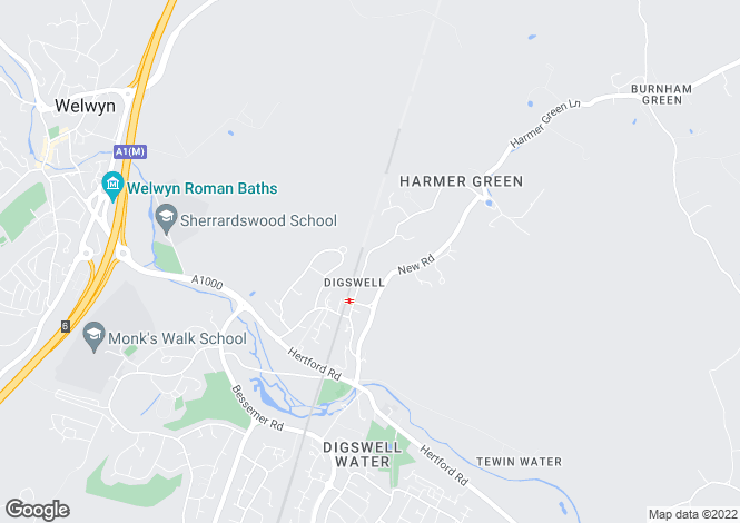 Map for Harmer Green Lane, Welwyn, Hertfordshire