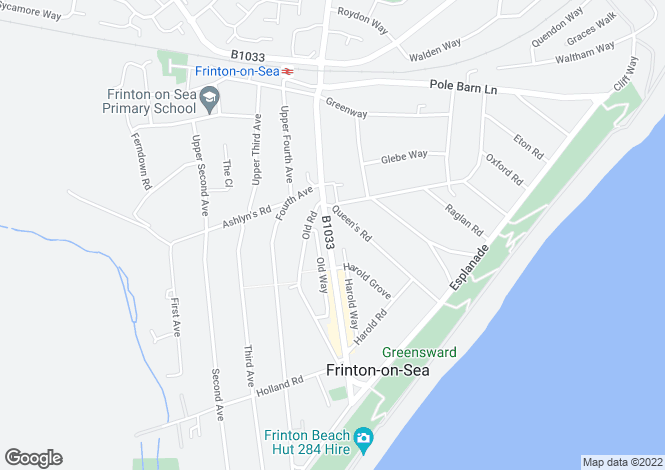 Map for 66, Connaught Avenue, Frinton On Sea, Essex, CO13 9PT