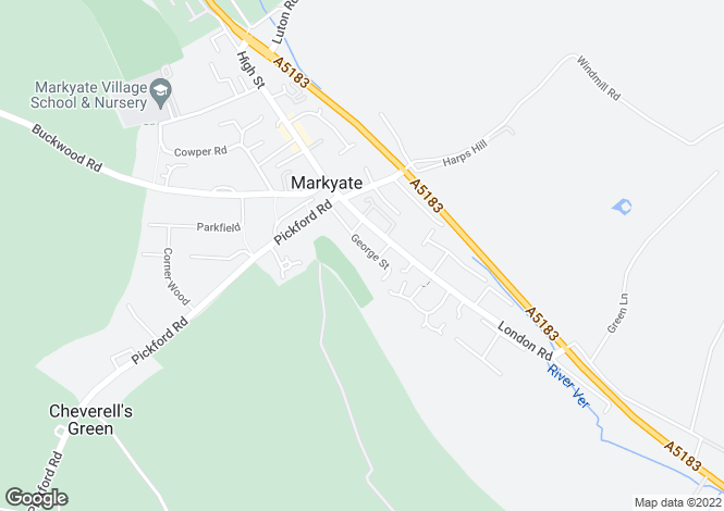 Map for George Street, Markyate, Hertfordshire