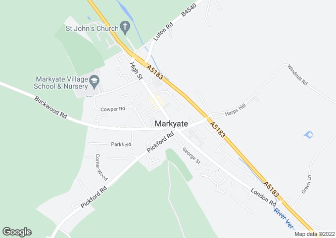 Map for Mulberry Cottage, 97 High St., Markyate, Markyate, St. Albans, Hertfordshire AL3