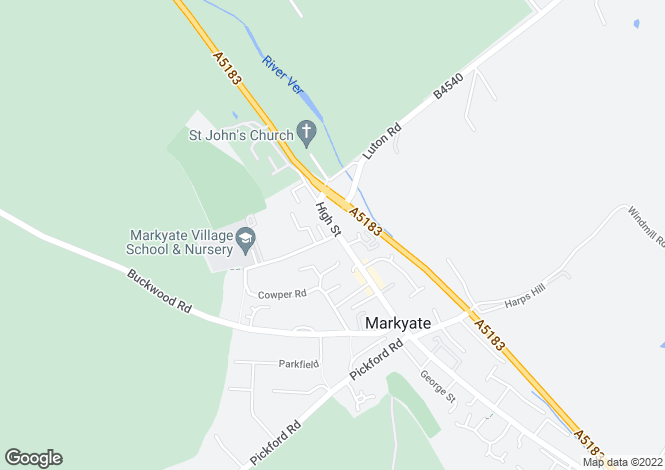 Map for High Street, Markyate, Hertfordshire