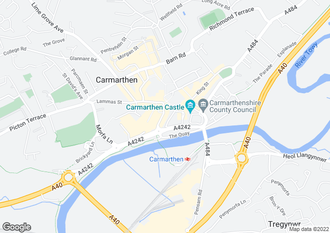 Map for Blue Street, Retail, Carmarthen