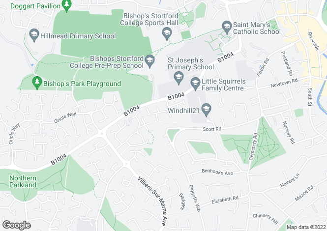 Map for Wentworth Drive, Bishops Stortford