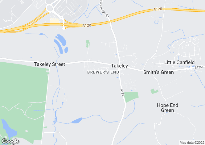 Map for Takeley, BISHOP'S STORTFORD, Essex