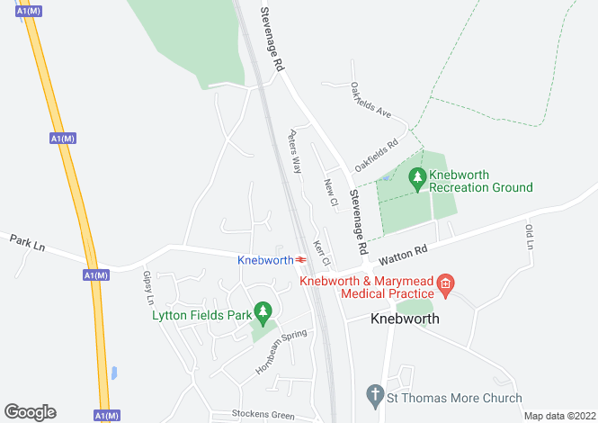 Map for KERR CLOSE, KNEBWORTH.