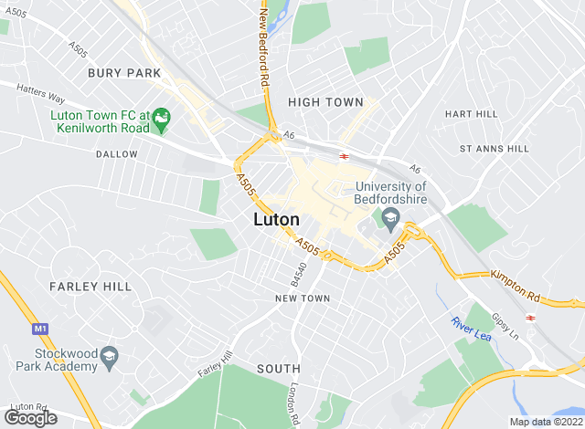 Map for Urban & Rural , Luton