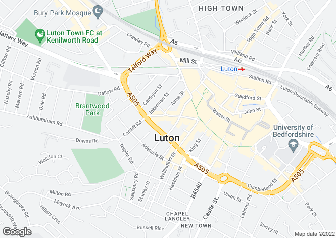 Map for Town Centre Development Opportunity at 27A upper George Street, Luton LU1 2RD