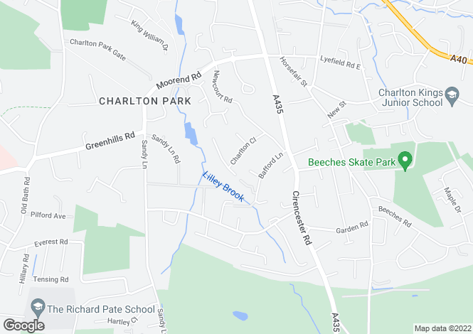 Map for Charlton Close, Charlton Kings, Cheltenham, GL53