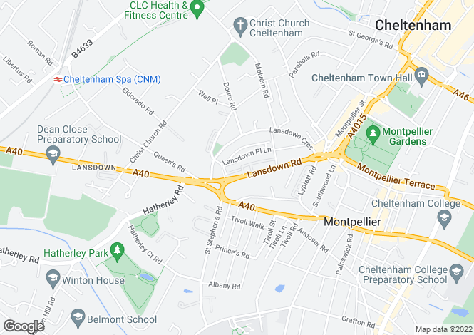 Map for Lansdown Road, Cheltenham, Gloucestershire