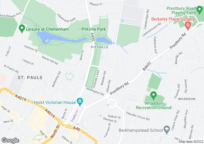 Map for Pittville Lawn, Cheltenham, Gloucestershire, GL52