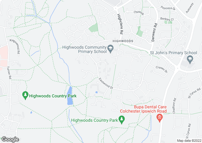 Map for Eastwood Drive, Highwoods, Colchester