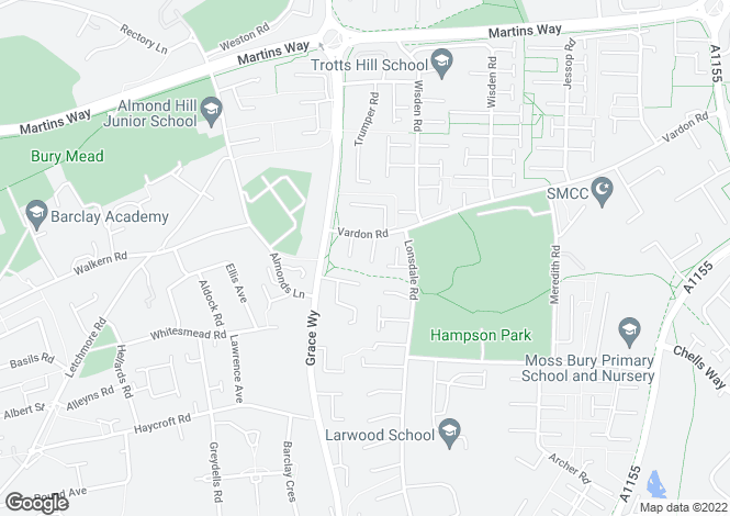 Map for Vardon Road, Stevenage, Hertfordshire, SG1