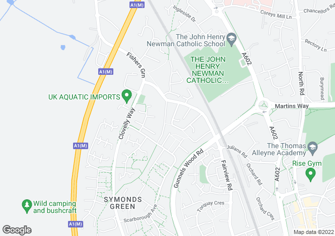 Map for Symonds Green Road, Stevenage, Hertfordshire, SG1