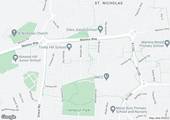 Map for Wisden Road, Stevenage SG1