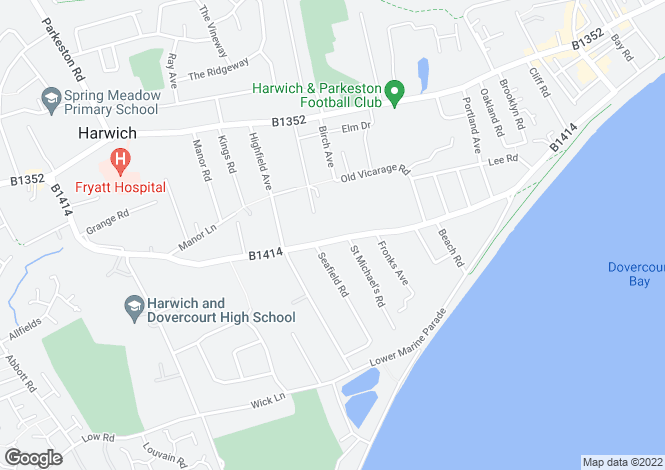 Map for Fronks Road, Harwich, Essex