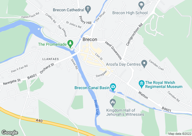 Map for Flat 2, The Ferns, 3 Glamorgan Street, Brecon, Powys