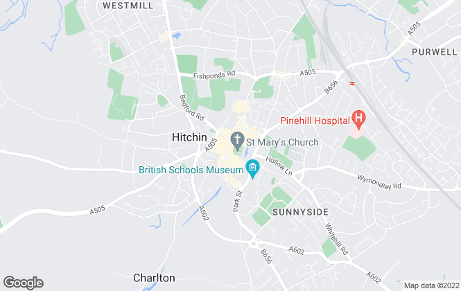 Map for Connells, Hitchin