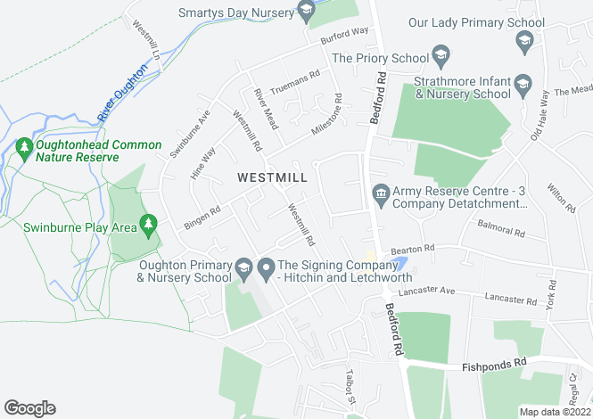 Map for Westmill Road, Hitchin
