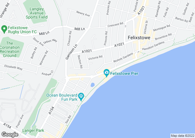 Map for Felixstowe, Suffolk