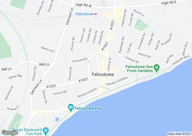 Map for Highfield Road, Felixstowe