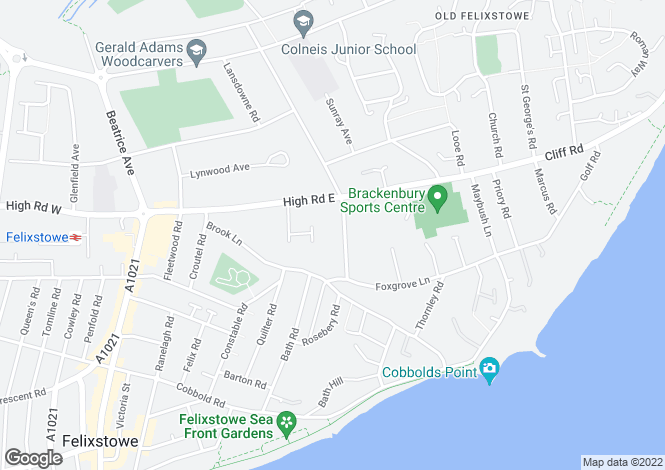 Map for PICKETTS ROAD, FELIXSTOWE