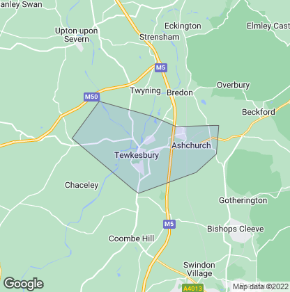 Map of property in Tewkesbury