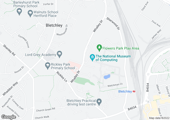 Map for Whalley Drive, Bletchley, Milton Keynes, Buckinghamshire