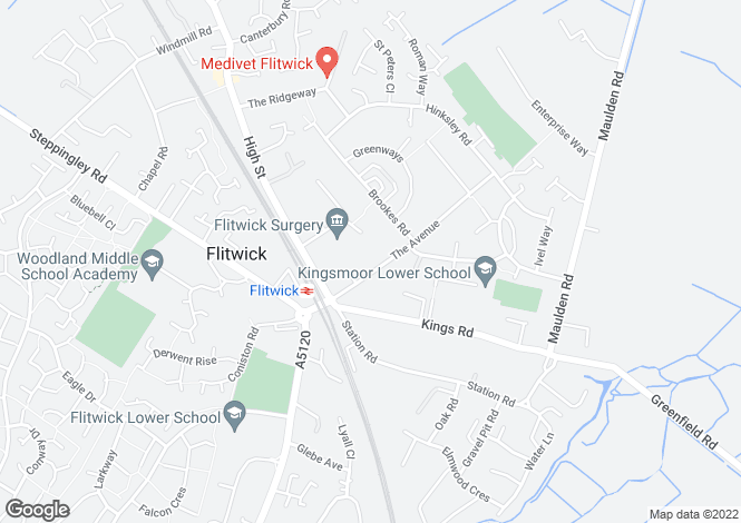 Map for The Avenue, Flitwick
