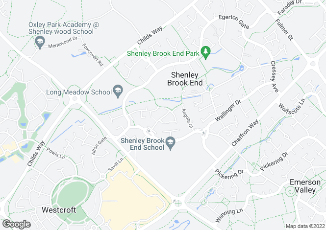 Map for Shenley Brook End, Milton Keynes, Bucks