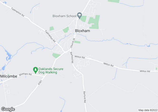 Map for Milton Road, Bloxham, Banbury, Oxfordshire, OX15