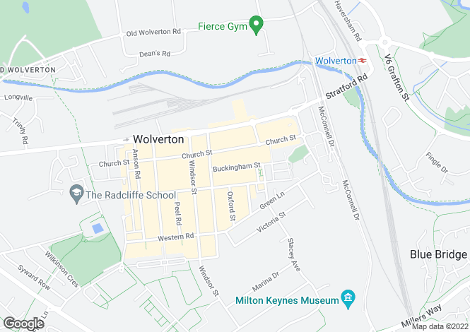 Map for Wolverton, Milton Keynes.