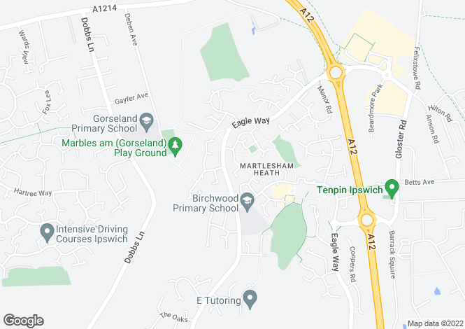 Map for Martlesham Heath, Ipswich, Suffolk