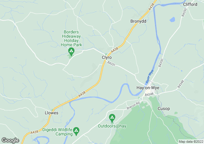 Map for Hay on Wye, West Herefordshire