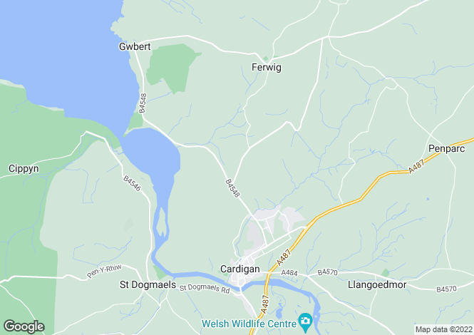 Map for Verwig Road, Cardigan, Ceredigion