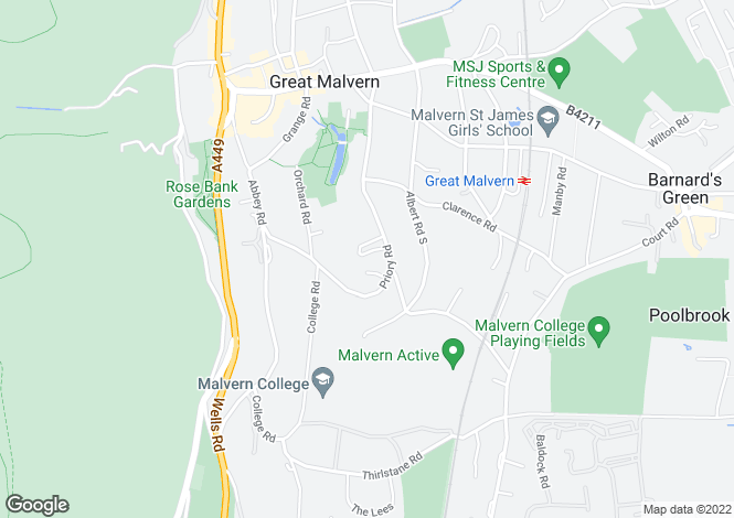 Map for Daresbury, 27 Priory Road, Great Malvern, Worcestershire